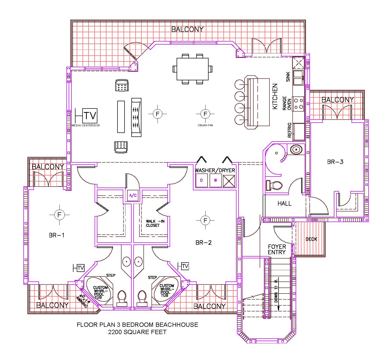 Floor plan for pelican point st augustine fl for 3 bedroom beach house plans